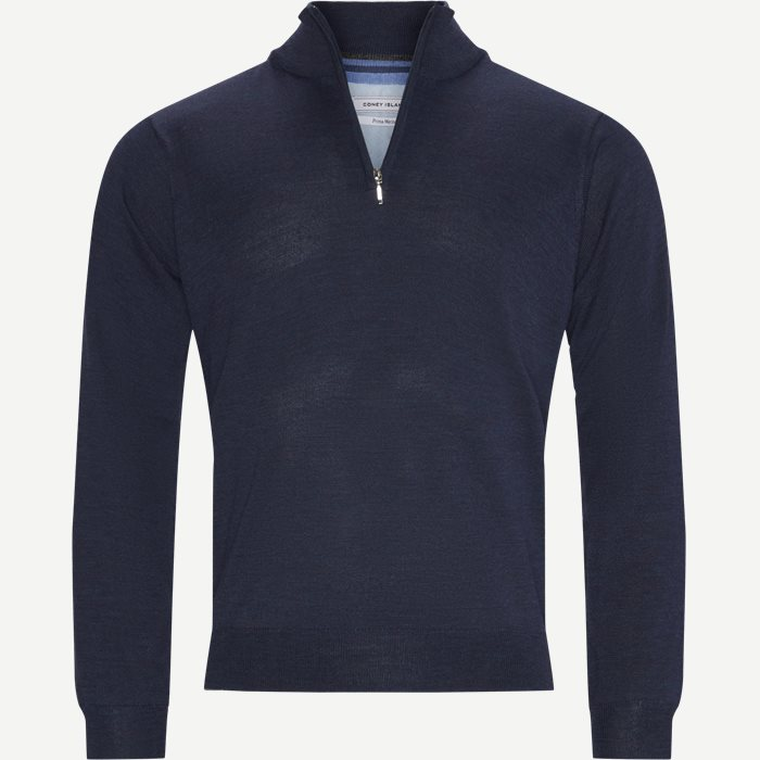 Panerea Half-Zip Striktrøje - Knitwear - Regular - Blue